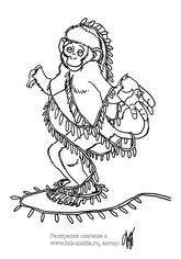 новогодняя обезьянка раскраска