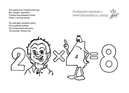 раскраска таблица умножения 2 на 4