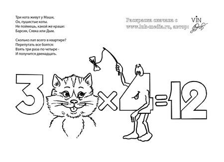 раскраска таблица умножения 3 на 4