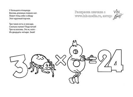 раскраска таблица умножения 3 на 8