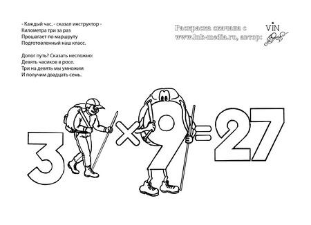 раскраска таблица умножения 3 на 9