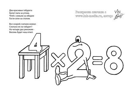 раскраска таблица умножения 4 на 2