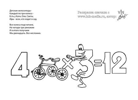раскраска таблица умножения 4 на 3