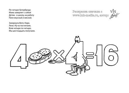 раскраска таблица умножения 4 на 4