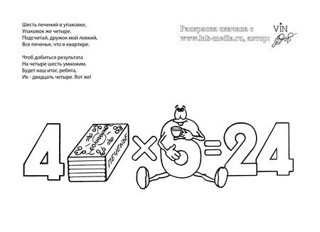 раскраска таблица умножения 4 на 6