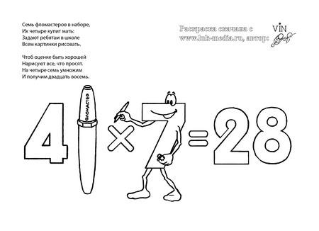 раскраска таблица умножения 4 на 7