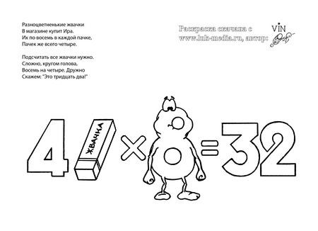 раскраска таблица умножения 4 на 8
