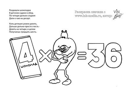 раскраска таблица умножения 4 на 9