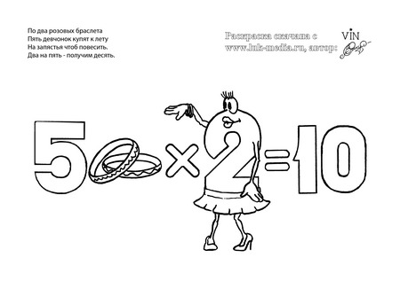 раскраска таблица умножения 5 на 2