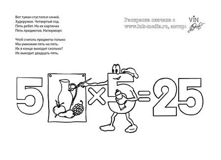 раскраска таблица умножения 5 на 5