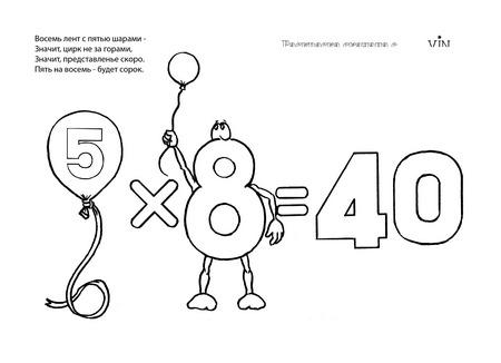 раскраска таблица умножения 5 на 8
