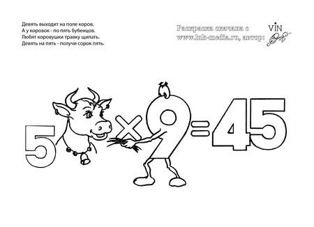 раскраска таблица умножения 5 на 9