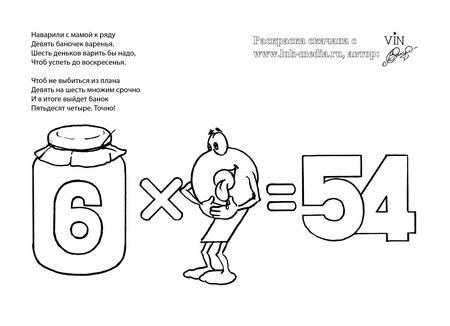 раскраска таблица умножения 6 на 9