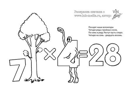 раскраска таблица умножения 7 на 4