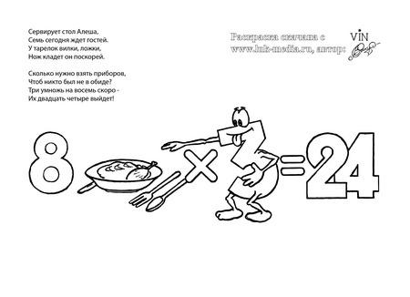 раскраска таблица умножения 8 на 3