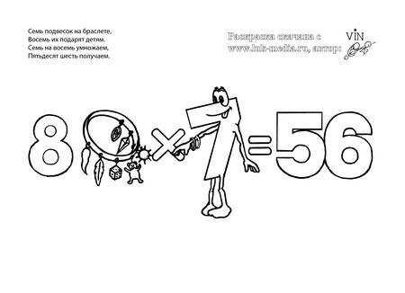 раскраска таблица умножения 8 на 7