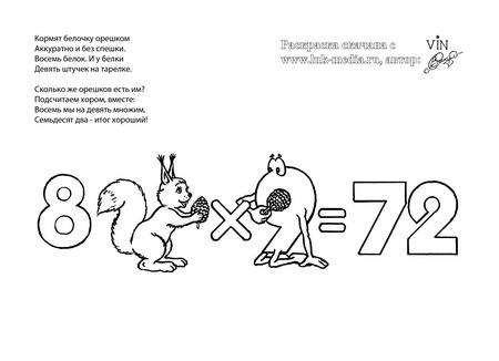 раскраска таблица умножения 8 на 9