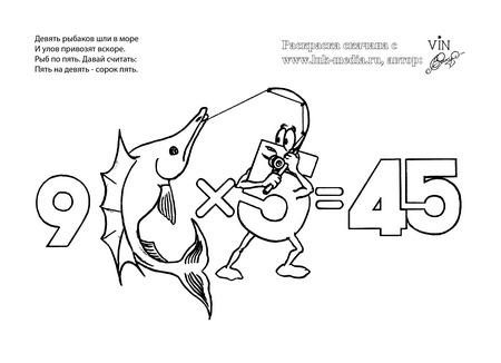 раскраска таблица умножения 9 на 5